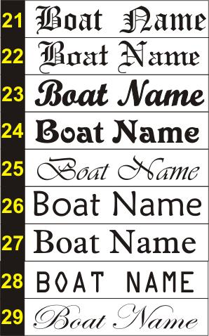 Boat Name Font Samples