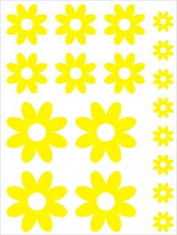 8 Petal Vinyl Flower Stickers
