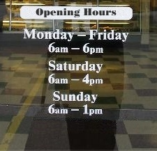 Shop Window Opening Hours Vinyl Sticker - Window stickers for business hours