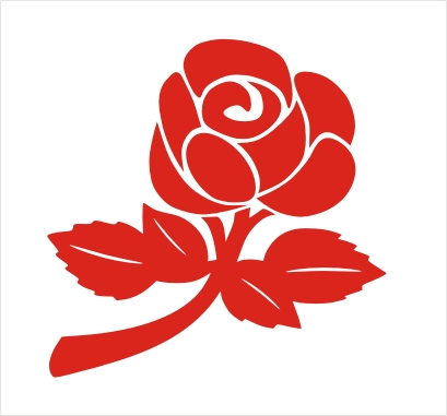 Single Colour English Rose Vinyl Sticker